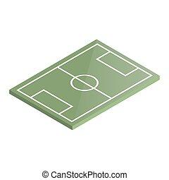 illustration., isométrique, vecteur, cour de récréation, football, icône