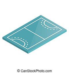 illustration., isométrique, vecteur, cour de récréation, handball, icône