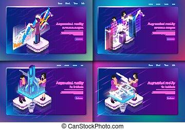 illustration, isométrique, virtuel, business, réalité