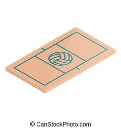 illustration., isométrique, volley-ball, vecteur, cour de récréation, icône