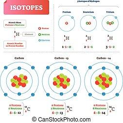 illustration., isotope, neutrons., étiqueté, vecteur, atomique, plan, hydrogène