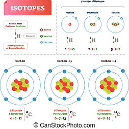illustration., isotope, neutrons., etiquetado, vetorial, ...