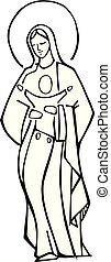 illustration, jésus, vierge, vecteur, encre, bébé, marie