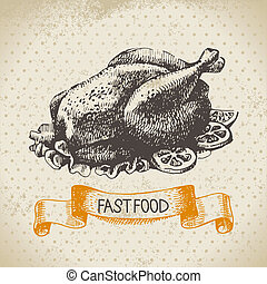 illustration., jadło, rocznik wina, mocny, ręka, tło., projektować, menu, pociągnięty