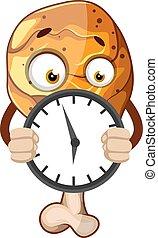 illustration, jambe, horloge, arrière-plan., vecteur, tenue, poulet, frit, blanc