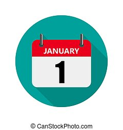 illustration., januari 1, vector, kalender, icon.