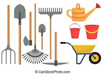 illustration, jardinage, plat, conception, blanc, isolé, fond, outils, ensemble, vecteur