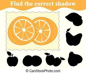 illustration., jeu, correct, orange., education., vecteur, children., ombre, trouver