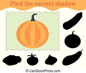 illustration., jeu, pumpkin., trouver, education., vecteur, ombre, correct, kids.