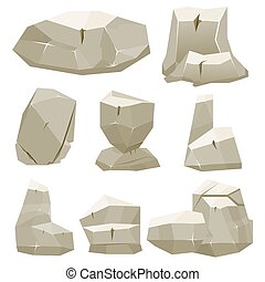 illustration., jeu, vecteur, stones., dessin animé