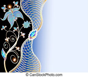 illustration jewelry background with ornaments made of precious stones