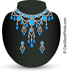 illustration jewelry female necklace and earrings with blue jewels