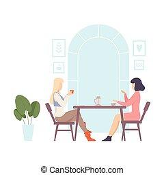 illustration., jonge, tafel, cafe., twee, zittende , vrouwen, vector