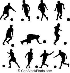 illustration, joueurs, silhouettes, vecteur, football, ball.