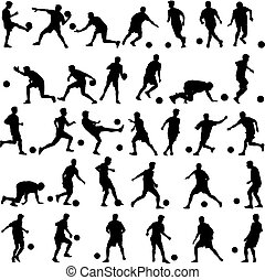 illustration, joueurs, silhouettes, vecteur, football, ball.