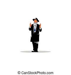 illustration., judío, signo., vector, jew., hombre