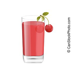 Juice in Glass with Two Cherries Isolated on White Background