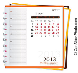 illustration., june., vektor, notizbuch, kalender, 2013