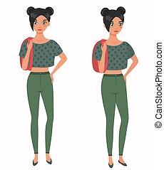 illustration., junger, front, girl., 3, vektor, 4, hübsch, ansicht., karikatur, stil