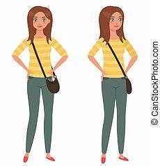 illustration., junger, front, girl., vektor, 3/4, hübsch, ansicht., karikatur, stil