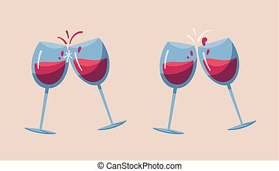 illustration., két, glasses., vektor, karikatúra, bor