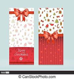 illustration., köszönés, bows., kreatív, holiday., vektor, meghívás, kártya, karácsony, piros