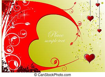illustration., köszönés, valentine s, vektor, meghívás, nap, card.