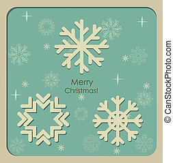 illustration., kaart, groet, vector, zalige kerst