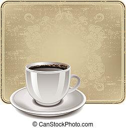 illustration., kaffe, årgång, ram, kopp, vektor