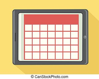 illustration, kalender, digital tablet