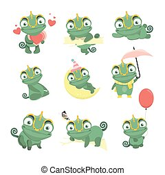 illustration, kameleont, set., tecknad film, söt