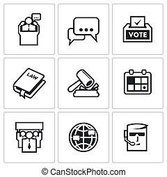 illustration., kandidat, iconerne, set., valg, vektor, præsident