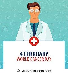 illustration., kanker, medisch, day., holiday., vector, 4, february., geneeskunde, wereld