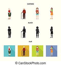 illustration., karakter, verzameling, vector, ontwerp, avatar, verticaal, icon., liggen