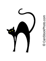illustration, katt, back., vektor, svart, böjd, har