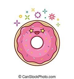 illustration, kawaii, sourire, dessin animé, beignet