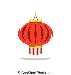 illustration., kinesisk, vektor, tecknad film, röd, lykta