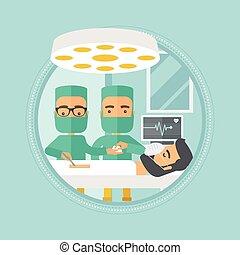 illustration., kirurger, två, vektor, tillverkning, operation