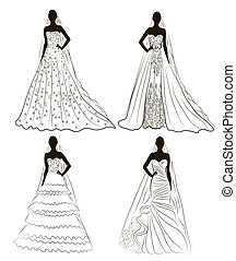 kit silhouette of the brides in wedding charge -...
