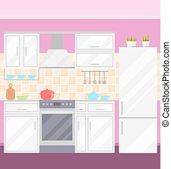 Kitchen with Furniture, Utensils, Food and Devices