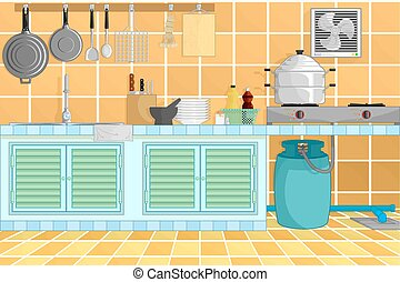 illustration., kitchenware., vector, plano de fondo, interior, cocina