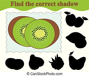 illustration., kiwi., jeu, correct, education., vecteur, children., ombre, trouver