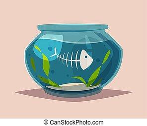 illustration., klar, vektor, aquarium, water., karikatur
