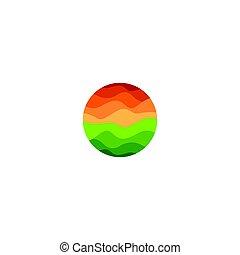illustration., kleur, abstract, vrijstaand, achtergrond, vorm, vector, groene, sinaasappel, logo, witte , ondergaande zon , ronde, landscape