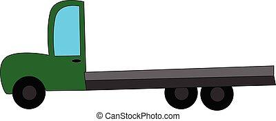 illustration., kleur, vector, groene, vrachtwagen, of