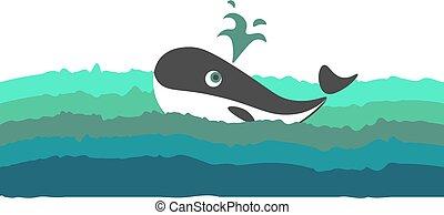 illustration., kleur, water, vector, walvis, zwemmen,...