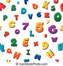 illustration., kleurrijke, alfabet, seamless, model, vector, kinderen