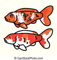 illustration., koi, art., leben, reizend, fische, orange, vektor, dekorativ, teich, klammer
