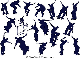 illustration., kolor, skateboard, jeden, chłopcy, wektor, stuknięcie, zmiana
