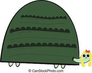 illustration., kolor, wektor, żółw, dziewczyna, albo